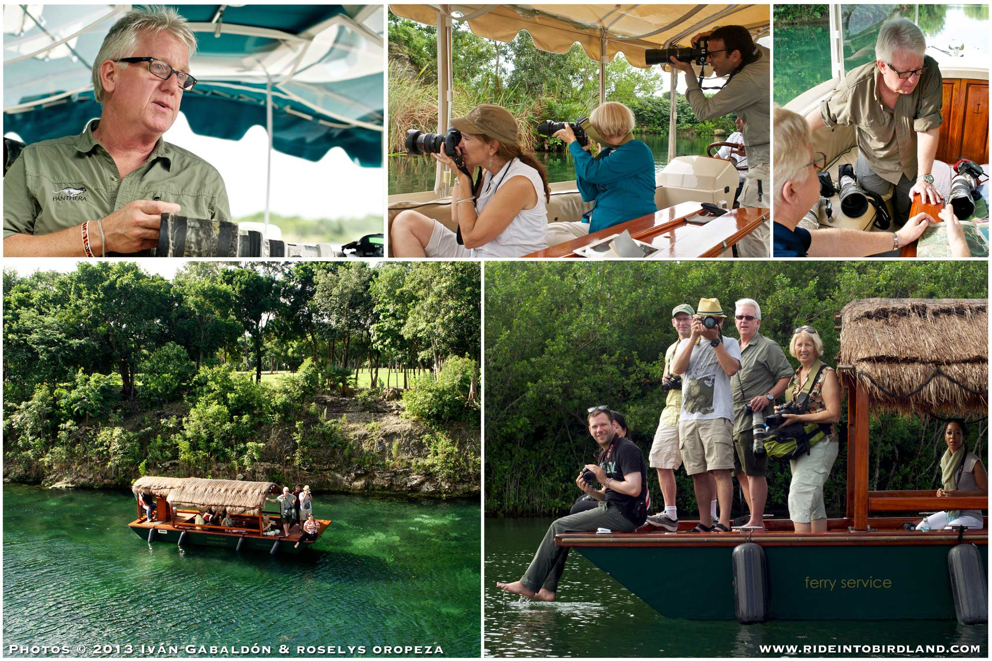 Clockwise from top left: Steve Winter talks photography; Sharon Guynup, Cherie Pitillo and Ivan Gabaldon shoot from the electric boat; Steve Winter and James Batt review a map of Mayakoba; Steve Winter and Master Class participants aboard the electric