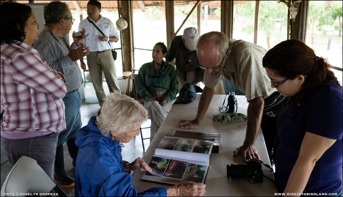 Paul Wood and Marigel Campos look on as Joann Andrews inspects a photo album that evidences presence of jaguars in the area. (Photo © Roselys Oropeza).