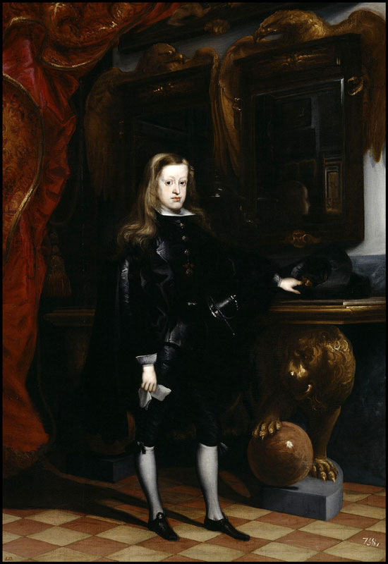 "King Charles II, ""The Bewitched"", last king of the Hasburg dinnasty. This painting by Juan Carreño de Miranda portrays him in the Hall of Mirrors of the Real Alcazar, in Madrid. (Image: Public domain / Wikipedia)."